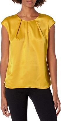 Kasper Women's Plus Size Cap Sleeve Charmeuse Blouse with Key Hole Detail