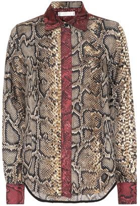 Victoria Beckham Slim snake-print silk shirt