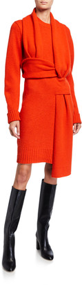 Bottega Veneta Brushed Wool Sweater Dress w/ Wrap Scarf