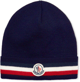 Moncler Men's Soft Knit Tricot Logo Beanie Hat