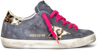 Golden Goose Superstar Sneaker in Grey Blue, Gold, Black & Leopard | FWRD