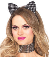 Leg Avenue Black Rhinestone Cat Ear Accessory Costume Set