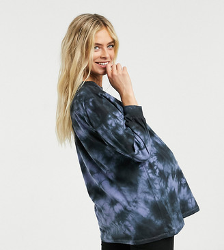 ASOS DESIGN Maternity oversized tie-dye t-shirt with long sleeve in blue