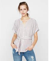 Express striped tie waist v-neck blouse