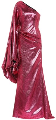 Halpern Metallic asymmetric gown
