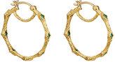 Cathy Waterman Women's Emerald & Yellow Gold Hoop Earrings