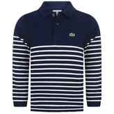 Lacoste LacosteBoys Navy Striped Pique Polo Shirt