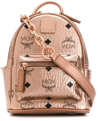 MCM Logo Print Convertible Backpack