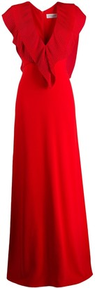 Victoria Beckham pleated V-neck long dress