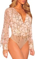Kalin L Women Flowing Illusion Sequins Long Sleeves Bodysuit Leotard Clubwear