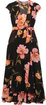 Reformation Floral-print Georgette Wrap Dress - Black