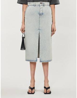 Balenciaga Split-front denim midi skirt