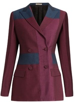 Bottega Veneta Peak-lapel patchwork wool-blend blazer