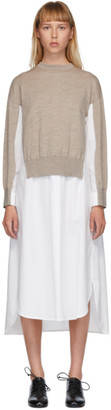 Enfold White and Beige Knit Layered Dress