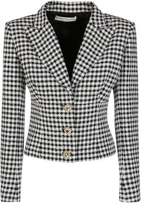 Alessandra Rich Crystal Button Houndstooth Blazer