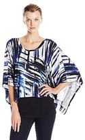 Karen Kane Women's Blue Brushstroke Scarf Top
