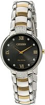 Citizen Women's 'Eco-Drive Diamond' Quartz Stainless Steel Dress Watch, Color:Two Tone (Model: EX1464-54E)