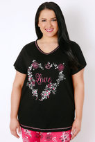 "Yours Clothing Black & Multi ""Love"" Floral Heart Print Pyjama Top"
