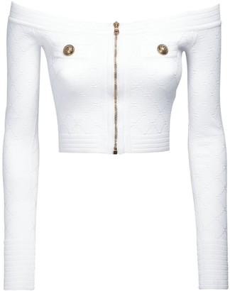 Balmain Off-The-Shoulder Knit Viscose Blend Top