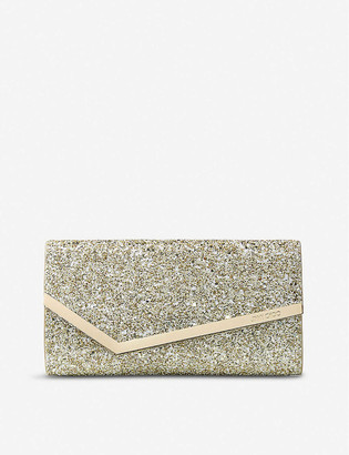 Jimmy Choo Emmie Infinity glitter and suede clutch