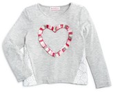 Design History Girls' Lace Back Heart Tee - Sizes 2-6X
