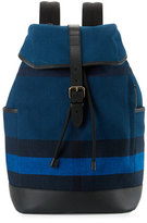 Burberry Drifton House Men's Check Canvas Backpack, Blue