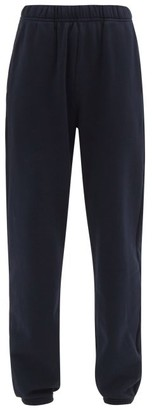 LES TIEN Brushed-back Cotton Track Pants - Navy