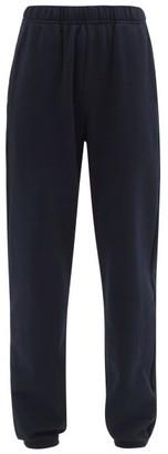 LES TIEN Brushed-back Cotton Track Pants - Navy
