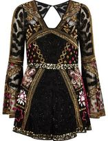 River Island Womens Black bead embellished kimono sleeve playsuit