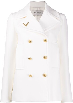 Valentino V-plaque double-breasted jacket
