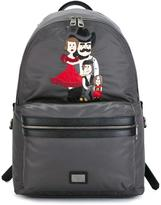 Dolce & Gabbana Volcano family patch backpack - men - Leather/Nylon - One Size