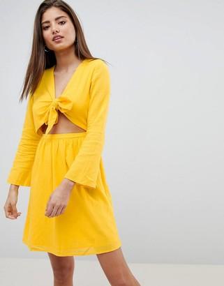Noisy May Cut Out Mini Dress-Yellow