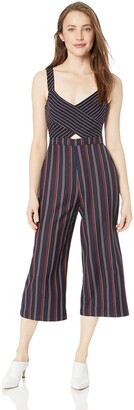 BCBGeneration Women's Mixed Media Cropped Overall