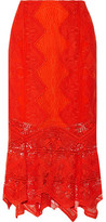 Jonathan Simkhai Open Knit-Trimmed Lace Midi Skirt