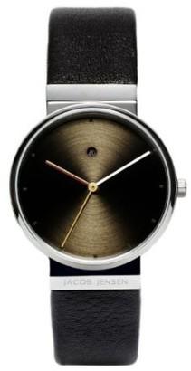 Jacob Jensen Damen-Armbanduhr Analog Quarz Leder DIMENSION SERIES ITEM NO.: 853