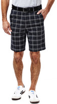 Haggar Cool 18 Woven Plaid Short - Classic Fit, Flat Front, Expandable Waistband