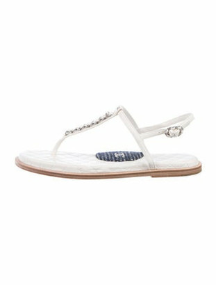 Chanel Interlocking CC Logo Leather T-Strap Sandals White