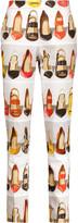 Moschino Pleated printed cotton-piqué slim-leg pants