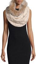 Sofia Cashmere Cashmere Fur-Trim Cable-Knit Snood, Oatmeal