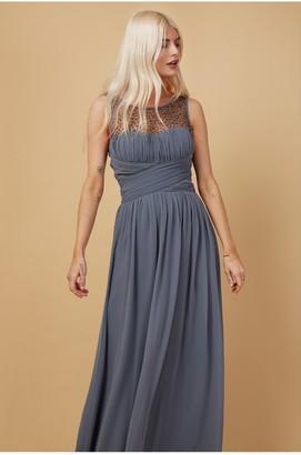 Little Mistress Bridesmaid Justice Gunmetal Embellished Maxi Dress