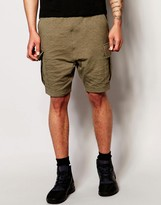 Asos Drop Crotch Shorts With Quilting And Cargo Styling In Khaki