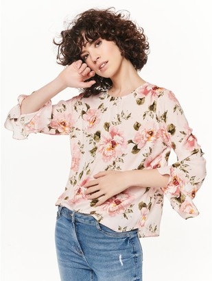 M&Co Shimmer floral frill sleeve top