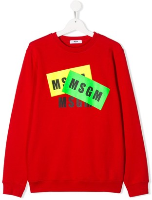 Msgm Kids Layered Logo Print Round Neck Sweatshirt