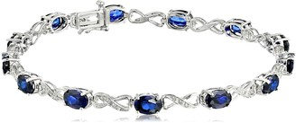 Amazon Collection Sterling Silver Created Blue Sapphire and Diamond Infinity Bracelet (1/10 cttw I-J Color I2-I3 Clarity) 7.25""