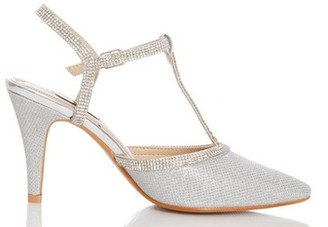 Dorothy Perkins Womens Quiz Silver Shimmer Heeled Court Shoes, Silver