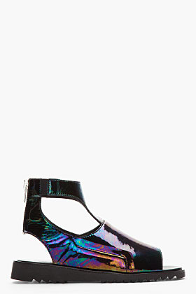 Thierry Mugler Petrol Black Leather Holographic Cut-Out Sandals