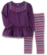Kids Headquarters Little Girls Embroidered Top and Printed Leggings Set