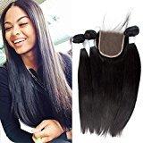 "Echo Beauty Brazilian Hair Extensions 3Bundles+1Closure Straight Hair Weaves 3pcs 8""10""12""and 1pc Vingin Hair Closure 8"""