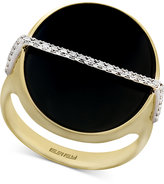 Effy Eclipse by Black Onyx (20mm) and Diamond (1/10 ct. t.w.) Statement Ring in 14k Gold