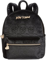 Betsey Johnson Small Velvet Skull Backpack